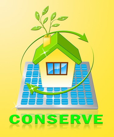 Conserve House Displays Natural Preservation 3d Illustration Stock fotó