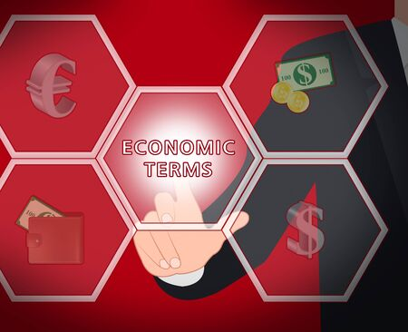 Economic Terms Icons Fiscal And Economizing 3d Illustration