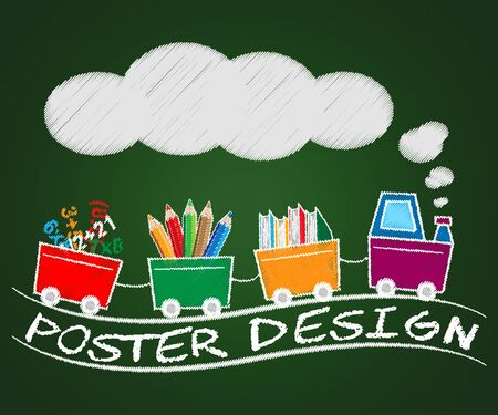 Poster Design Train Means Creative Billboard 3d Illustration