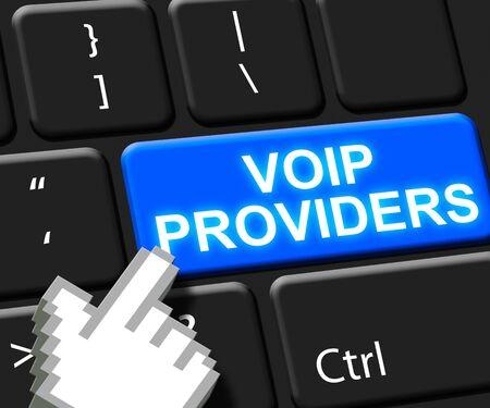 Voip Providers Key Shows Internet Voice 3d Illustration