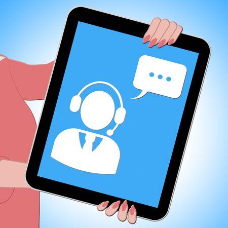 Voip Tablet Shows Voice Over Broadband 3d Illustration Reklamní fotografie