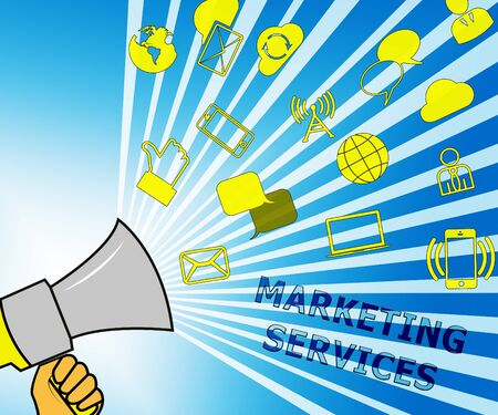 Marketing Services Icons Shows Promotion Offers 3d Illustration