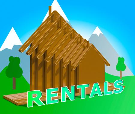 rentals: Property Rentals Houses Means Real Estate 3d Illustration