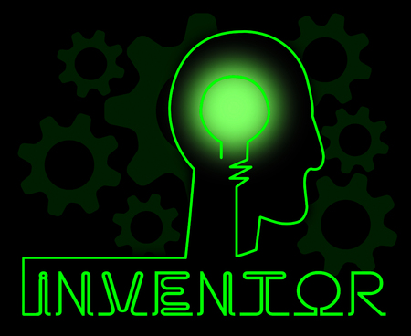 invents: Inventor Brain Meaning Innovating Invents And Innovating Stock Photo