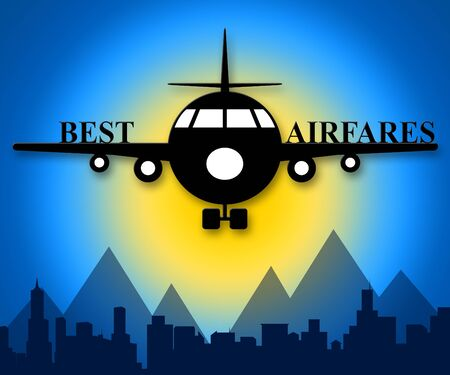 Best Airfares Plane Indicating Optimum Cost Flights 3d Illustration