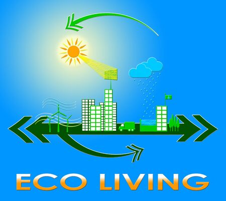 earth day: Eco Living Town Meaning Green Life 3d Illustration