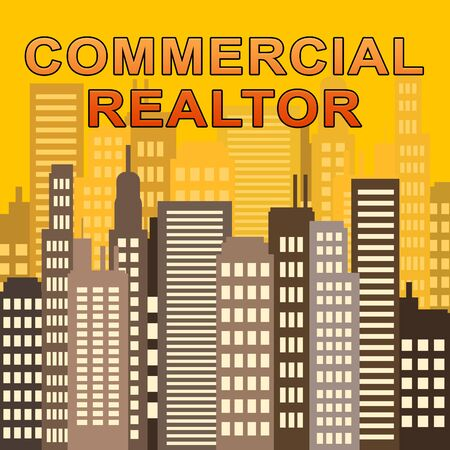 Commercial Realtor Skyscrapers Describes Real Estate Offices 3d Illustration Stock Photo