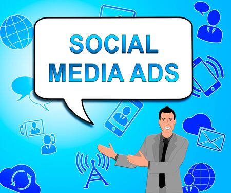 emarketing: Social Media Ads Icons Means Online Marketing 3d Illustration Stock Photo