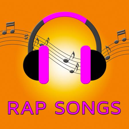 music lyrics: Rap Songs Earphones significa escupir barras Ilustración 3d