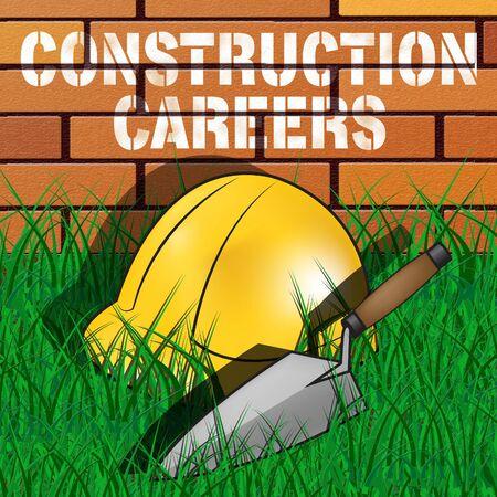 Construction Careers Builders Hat Represents Building Occupation 3d Illustration Reklamní fotografie