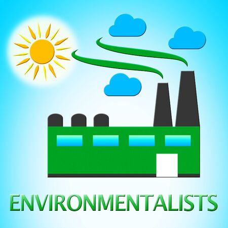 earth day: Environmentalists Factory Represents Eco Friendly 3d Illustration Stock Photo