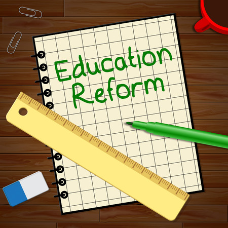 Education Reform Notebook Represents Changing Learning 3d Illustration