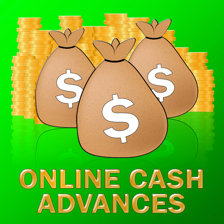 Online Cash Advances Sacks Means Dollar Loan 3d Illustration