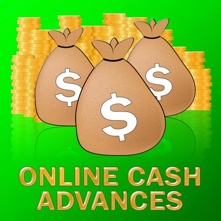 Online Cash Advances Sacks Means Dollar Loan 3d Illustration