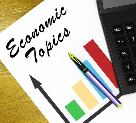 Economic Topics Graph Meaning Economical Subjects 3d Illustration