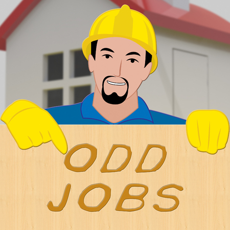 Odd Jobs Sign Shows House Repair 3d Illustration Stock Photo