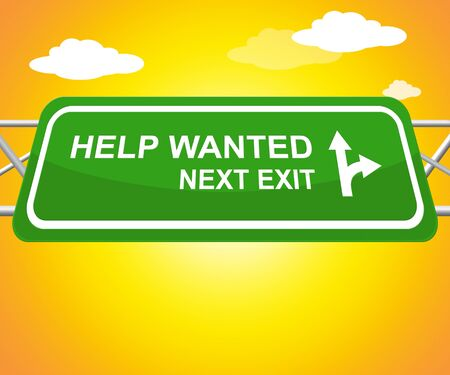 seeking assistance: Help Wanted Sign Displays Employment 3d Illustration Stock Photo