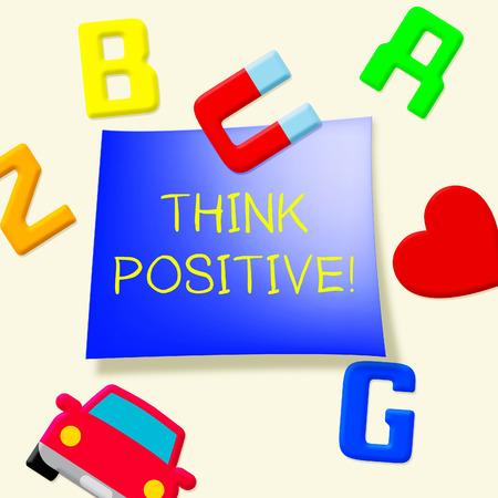 冷蔵庫用マグネットが 3 d 楽観的な考えを示していますが正だと思うの図 写真素材 - 79714326