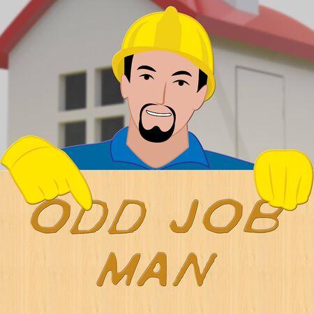 Odd Job Man Shows House Repair 3d Illustration
