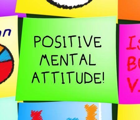 肯定的な心的態度注意楽観主義が表示されます 3 d イラストレーション 写真素材