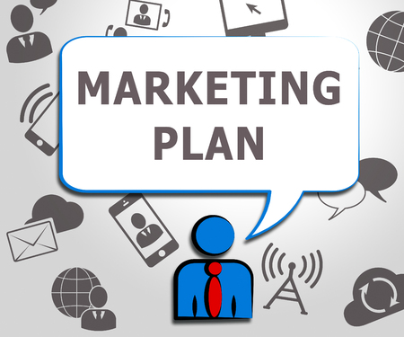 emarketing: Marketing Plan Icons Shows Emarketing Scheme 3d Illustration