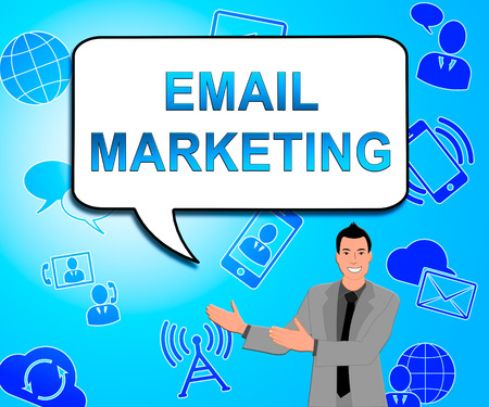 emarketing: Email Marketing Icons Indicates Emarketing Commerce 3d Illustration