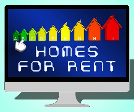 renter: Homes For Rent Laptop Representing Real Estate 3d Illustration