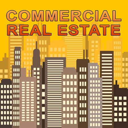 Commercial Real Estate Skyscrapers Means Offices Sale 3d Illustration