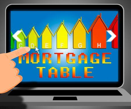 representing: Mortgage Table Laptop Representing Loan Calculator 3d Illustration