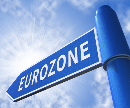 Eurozone-Verkehrsschild, das Illustration der Euro-Politik 3d bedeutet Standard-Bild - 79714384