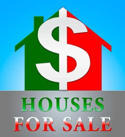 Houses For Sale Dollar Icon Meaning Sell House 3d Illustration