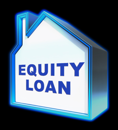 borrowing: Equity Loan House Shows Capital And Lending 3d Rendering