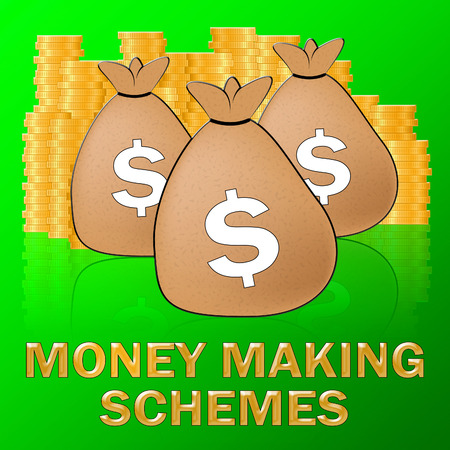 Money Making Schemes Sacks Means make Dollars 3d Illustration