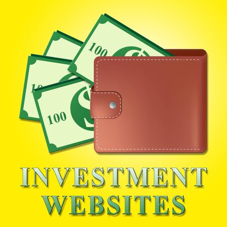 Investment Websites Wallet Means Investing Sites 3d Illustration Banco de Imagens