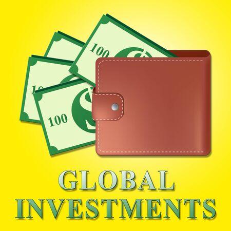 Global Investments Wallet Meaning Worldwide Investing 3d Illustration Banco de Imagens