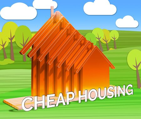Cheap Housing Houses Shows Real Estate 3d Illustration