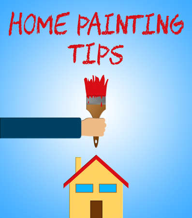 Home Painting Tips Paintbrush Means Renovation Ideas 3d Illustration Stock Photo