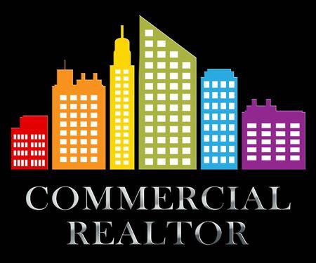 Commercial Realtor Skyscrapers Describes Real Estate Sale 3d Illustration