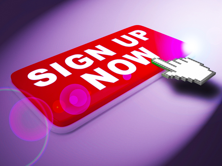 Sign Up Now Key Meaning Admission 3d Rendering