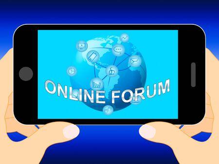 Online Forum Mobile Phone Represents Social Media 3d Illustration Reklamní fotografie