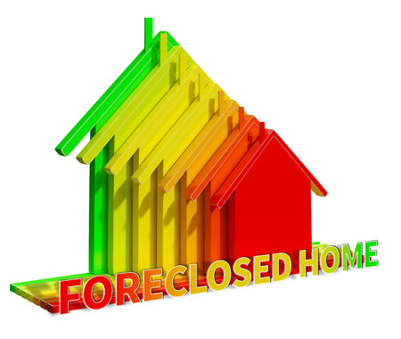 Foreclosed Home Eco House Represents Foreclosure Sale 3d Illustration
