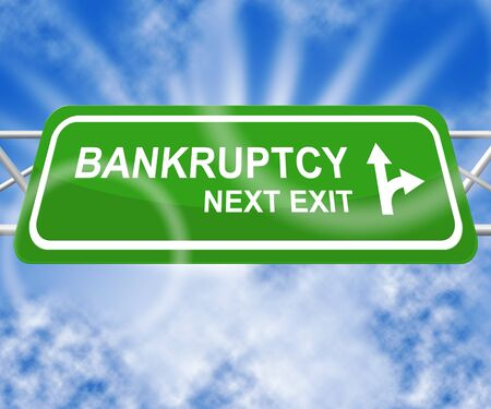 indebt: Bankruptcy Sign Shows Bad Debt And Arrears 3d Illustration