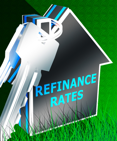 Refinance Rates Keys Represents Equity Mortgage 3d Rendering