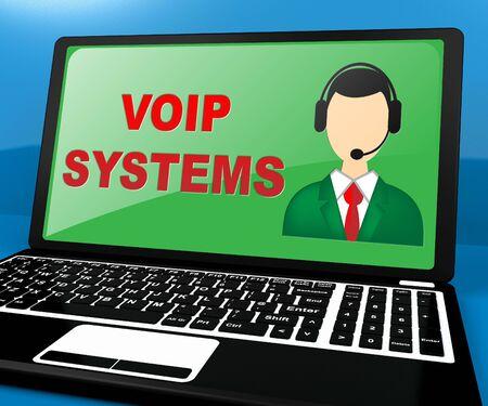 Voip Systems Laptop Shows Internet Voice 3d Illustration Reklamní fotografie