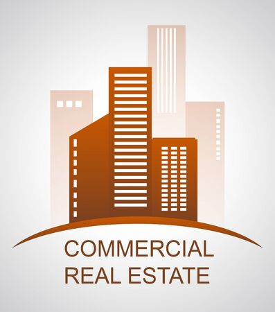 Commercial Real Estate Skyscrapers Means Offices Buildings 3d Illustration Stock Photo