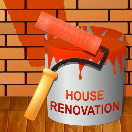 House Renovation Paint Indicating Home Improvement 3d Illustration Stock Photo