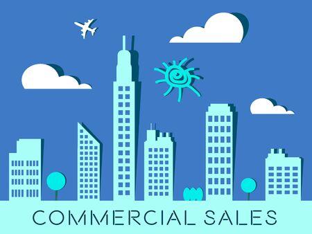 Commercial Sales Skyscrapers Represents Real Estate Buildings 3d Illustration