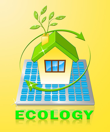 Ecology House Displays Earth Day Environment 3d Illustration