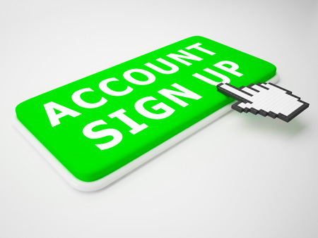 Account Sign Up Key Indicates Registration Membership 3d Rendering