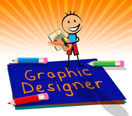 Graphic Designer Paper Displays Designing Job 3d Illustration Stock Photo